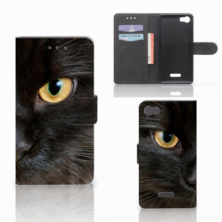 Wiko Fever (4G) Telefoonhoesje met Pasjes Zwarte Kat