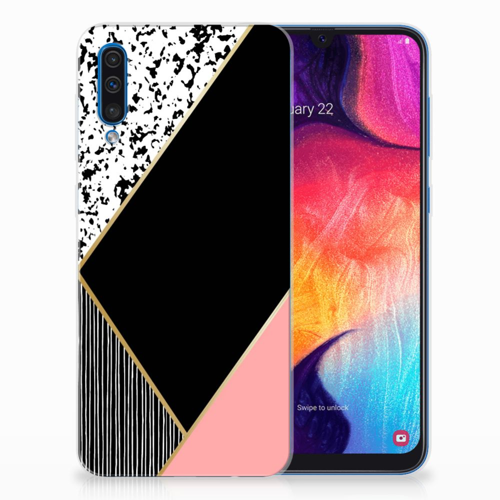 Samsung Galaxy A50 TPU Hoesje Zwart Roze Vormen
