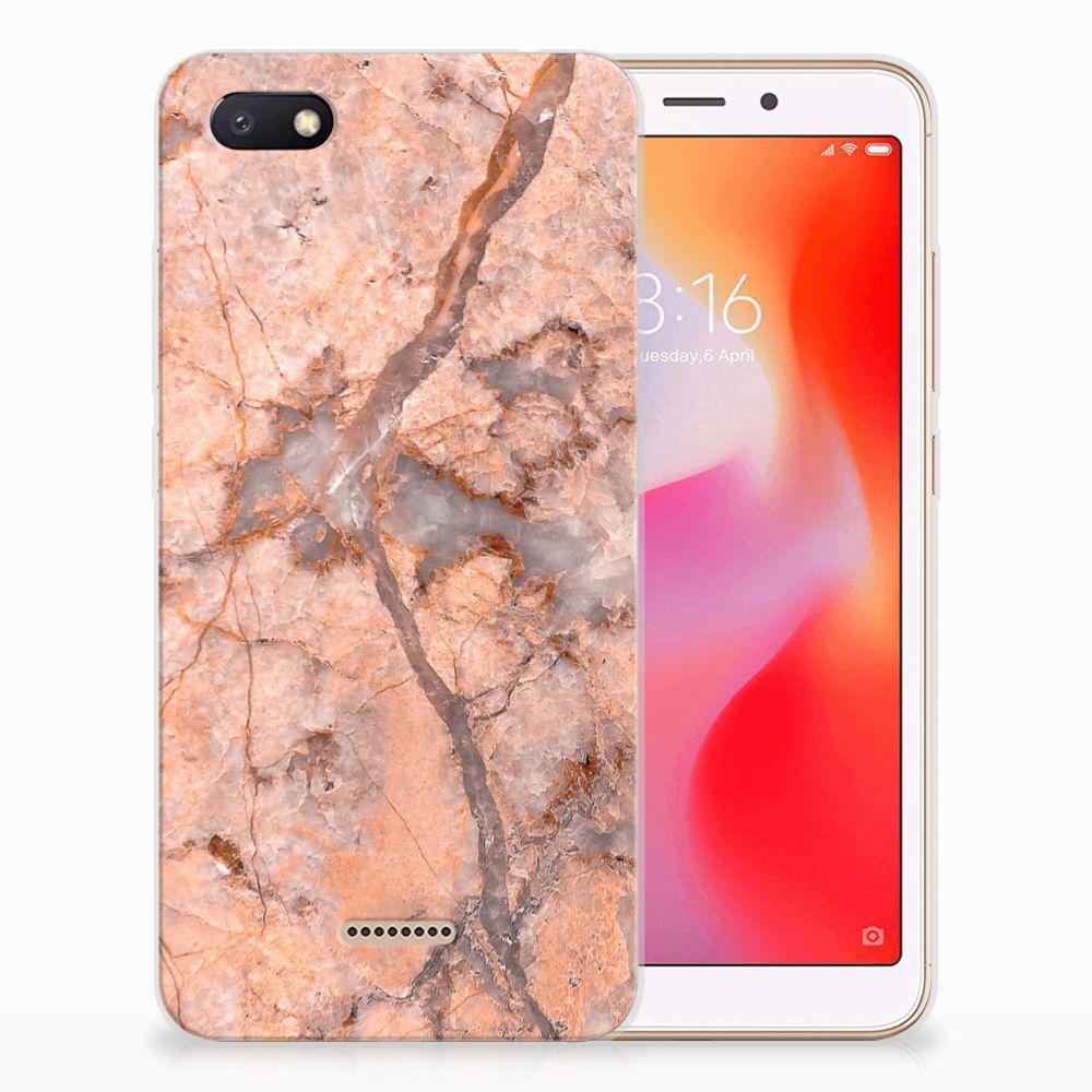 Xiaomi Redmi 6A TPU Siliconen Hoesje Marmer Oranje