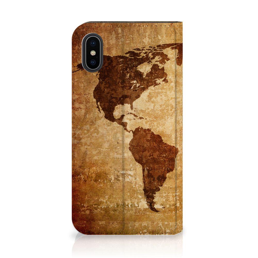 Apple iPhone X | Xs Standcase Hoesje Design Wereldkaart