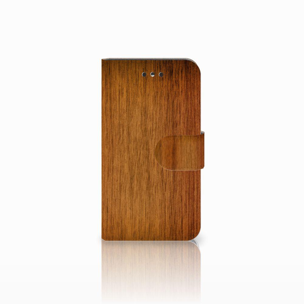 Nokia 1 Uniek Boekhoesje Donker Hout