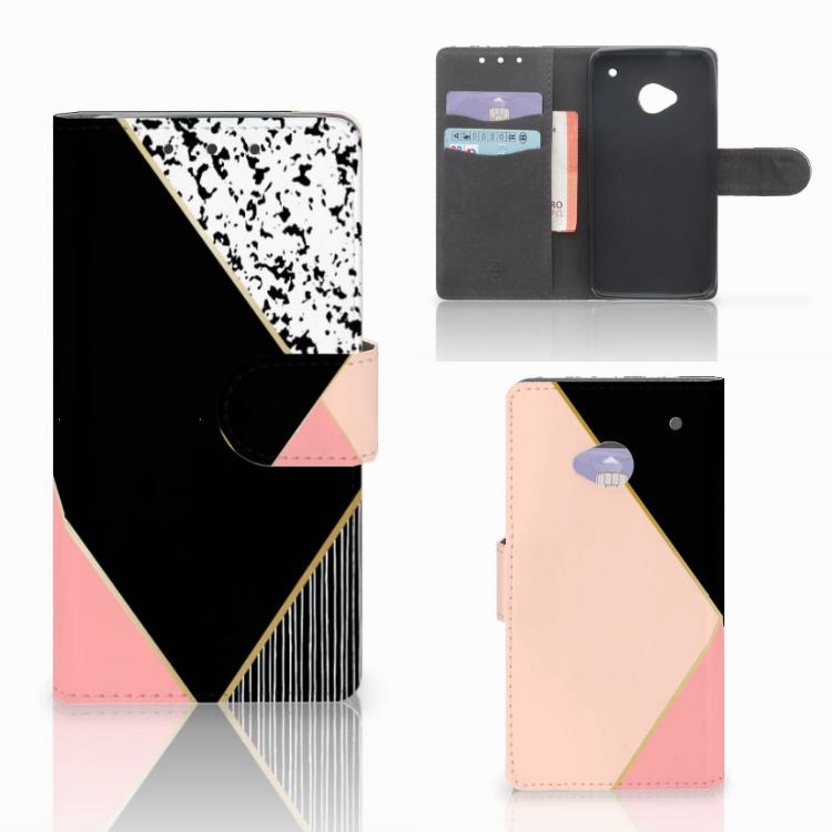HTC One M7 Bookcase Zwart Roze Vormen