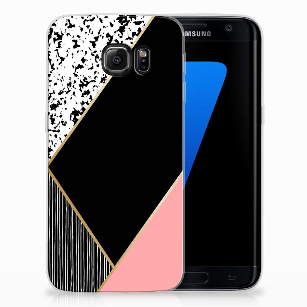 Samsung Galaxy S7 Edge Uniek TPU Hoesje Black Pink Shapes