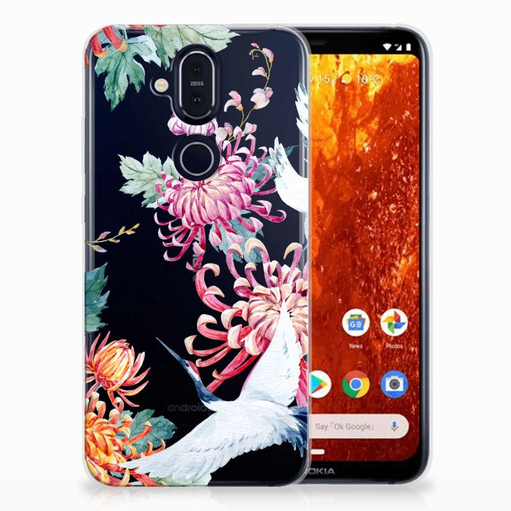 Nokia 8.1 Uniek TPU Hoesje Bird Flowers