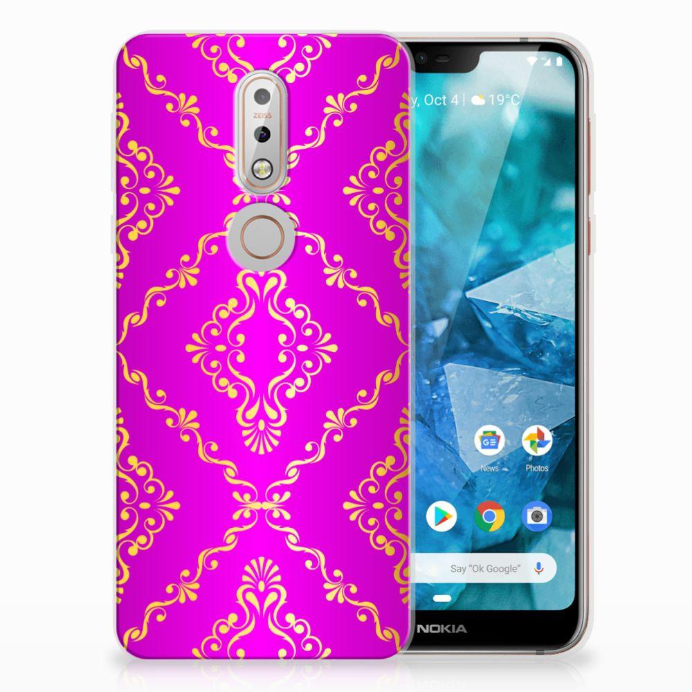 Nokia 7.1 Uniek TPU Hoesje Barok Roze