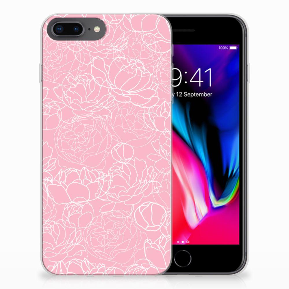 Apple iPhone 7 Plus | 8 Plus Siliconen Hoesje White Flowers