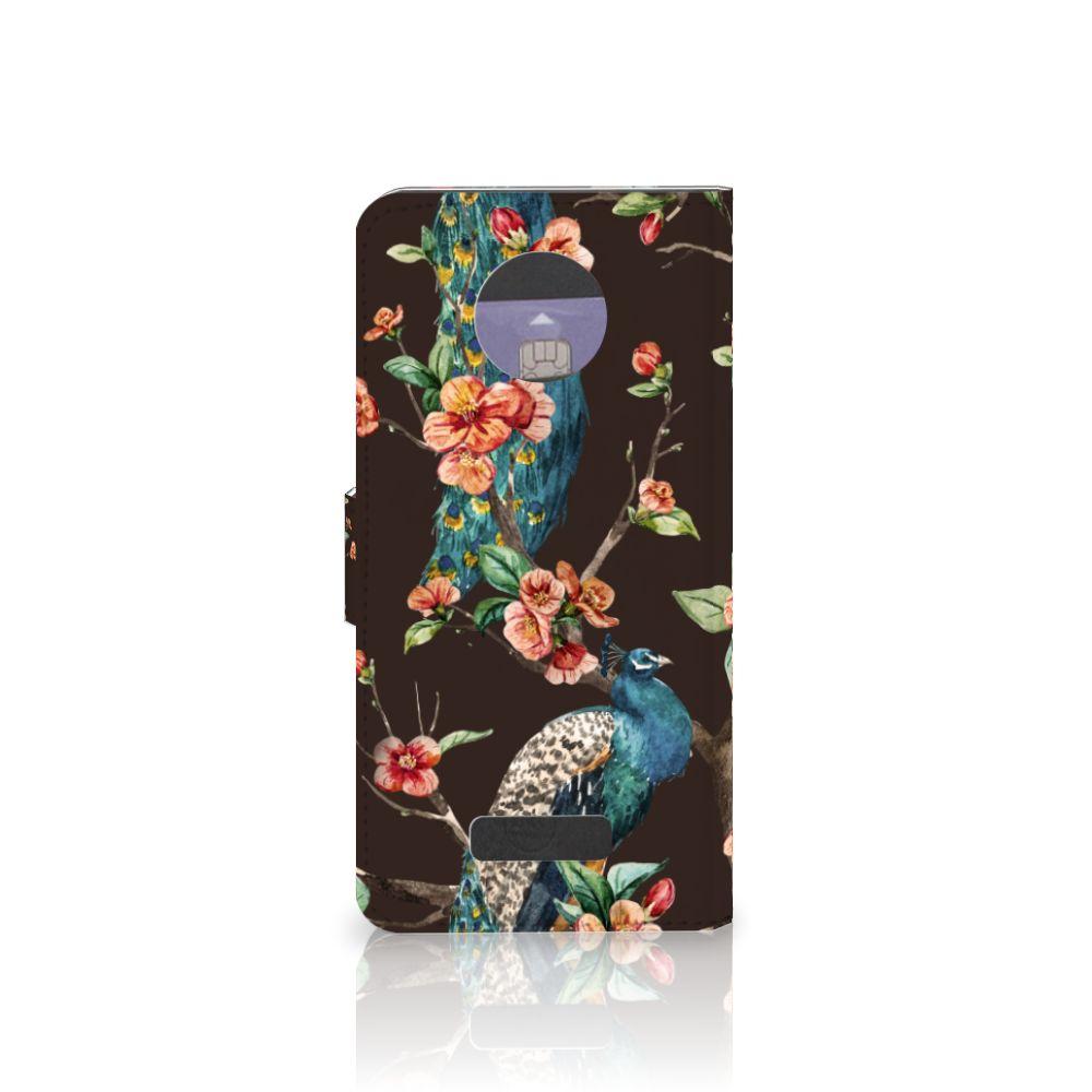 Motorola Moto Z Telefoonhoesje met Pasjes Pauw met Bloemen