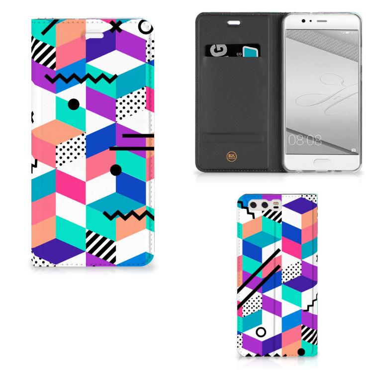 Huawei P10 Plus Stand Case Blokken Kleurrijk