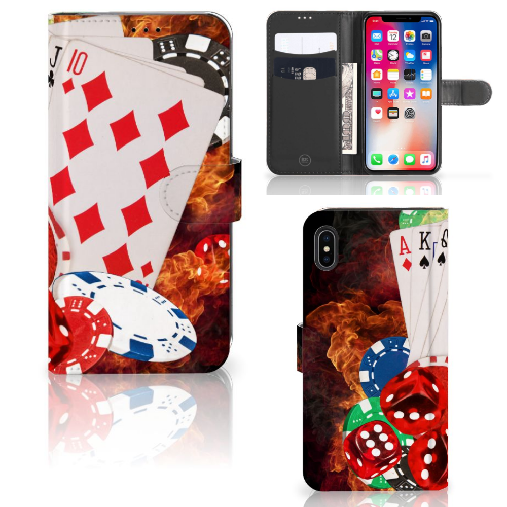 Apple iPhone Xs Max Wallet Case met Pasjes Casino