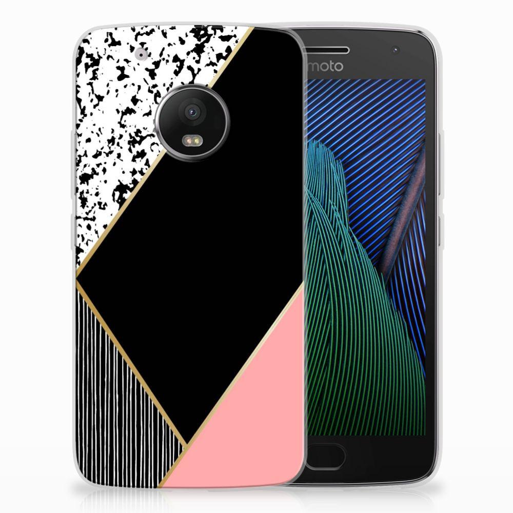 Motorola Moto G5 Plus TPU Hoesje Zwart Roze Vormen