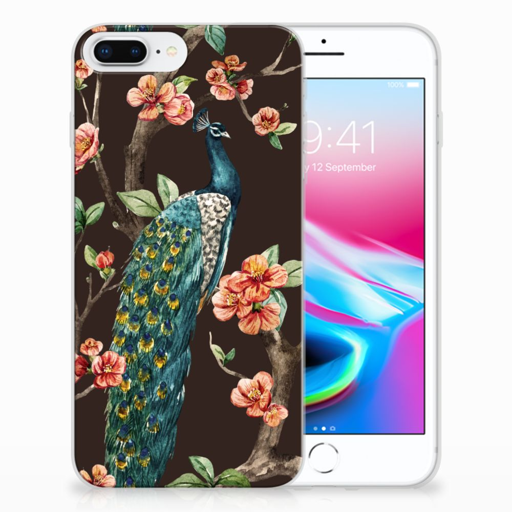 Apple iPhone 7 Plus | 8 Plus TPU Hoesje Design Pauw met Bloemen