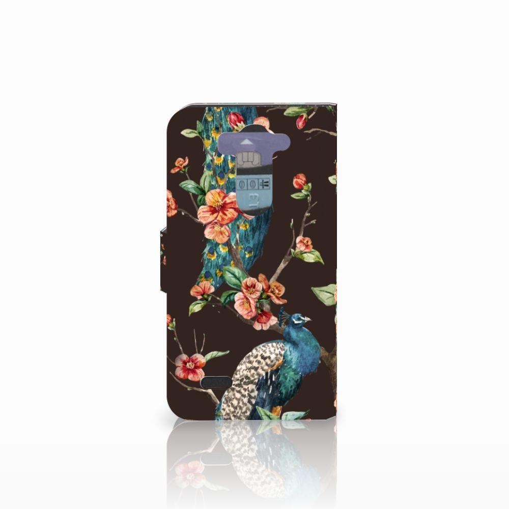 LG G3 S Telefoonhoesje met Pasjes Pauw met Bloemen