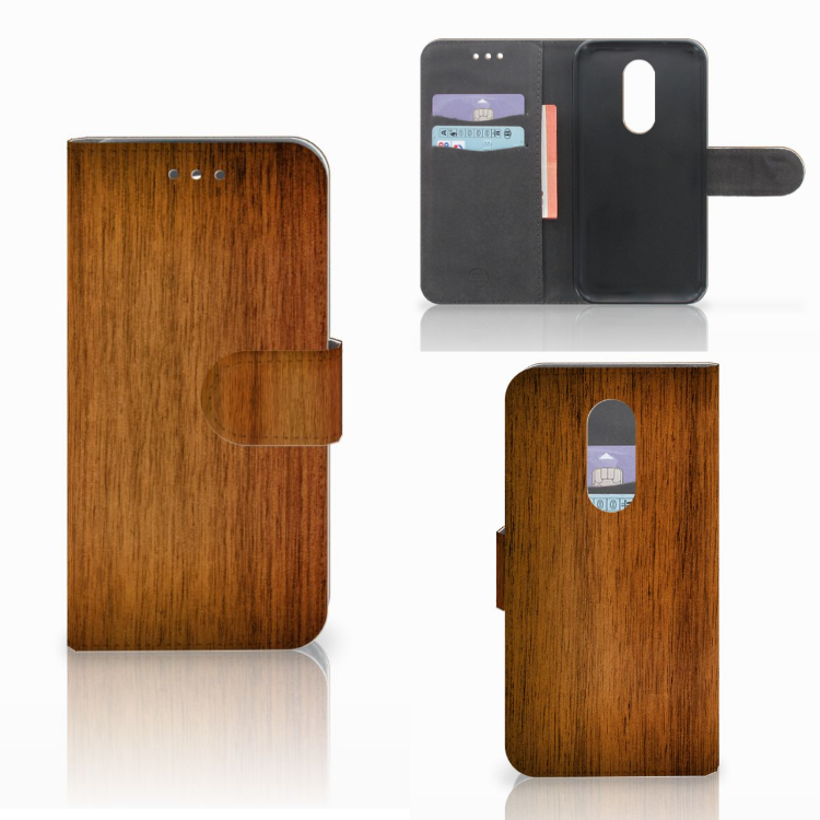 Wiko Wim Lite Book Style Case Donker Hout