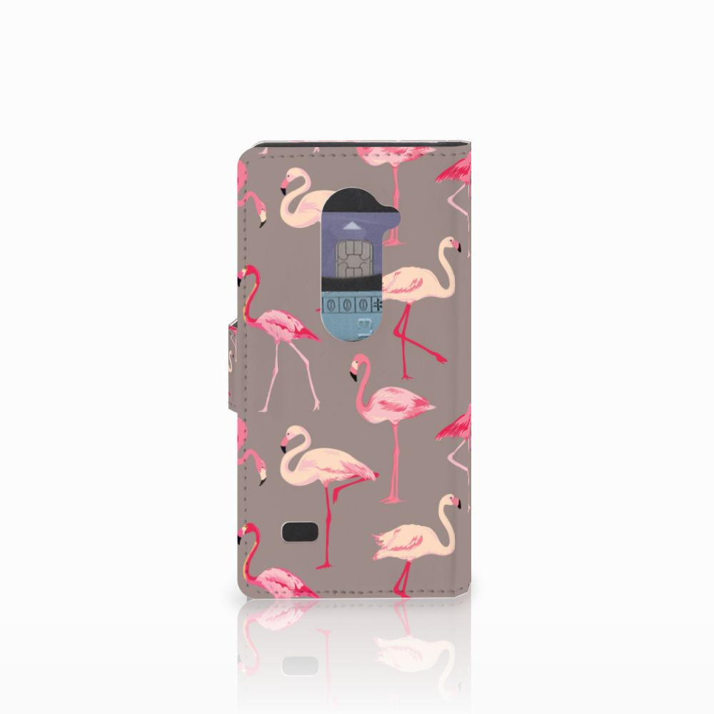 LG Leon 4G Telefoonhoesje met Pasjes Flamingo
