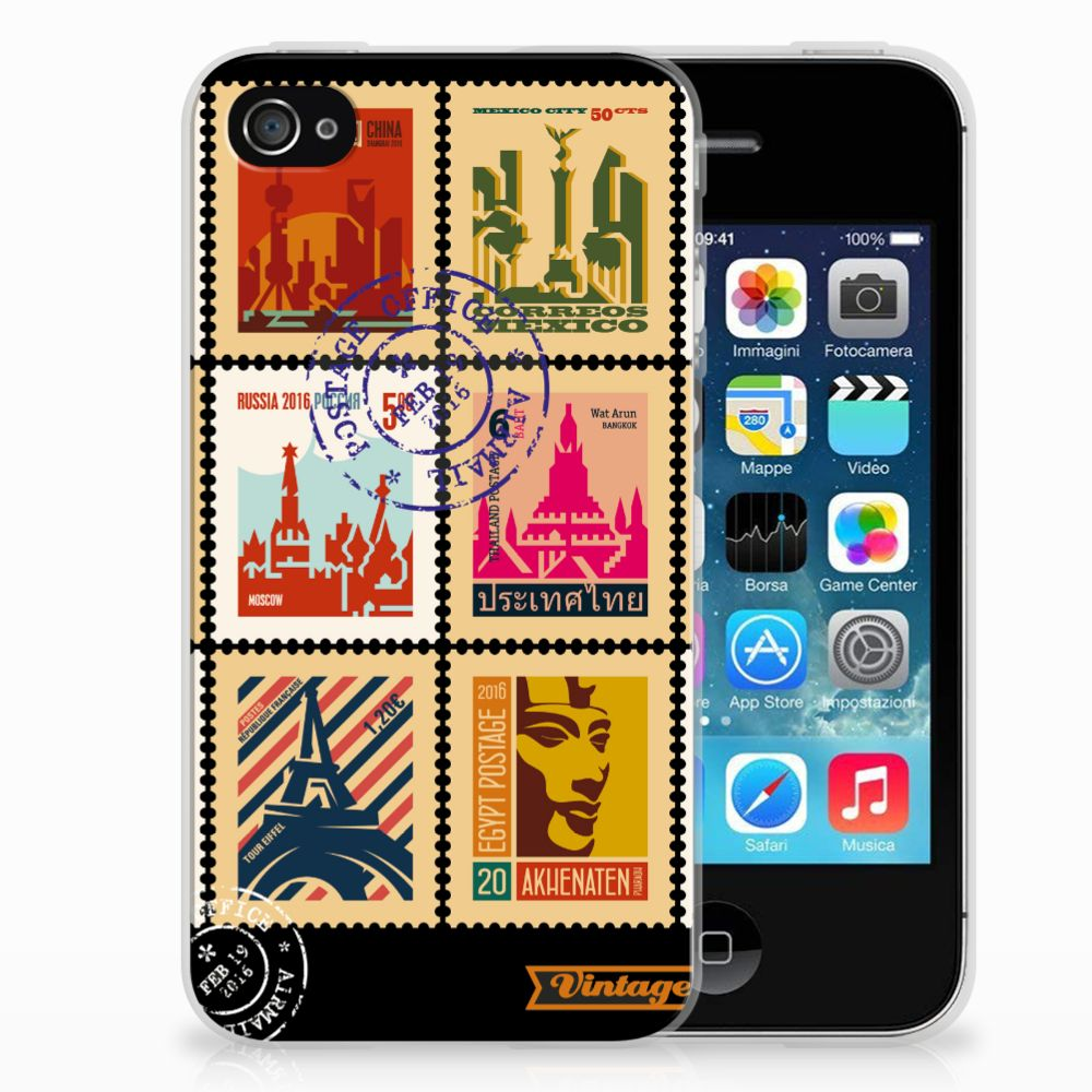Apple iPhone 4 | 4s Siliconen Back Cover Postzegels