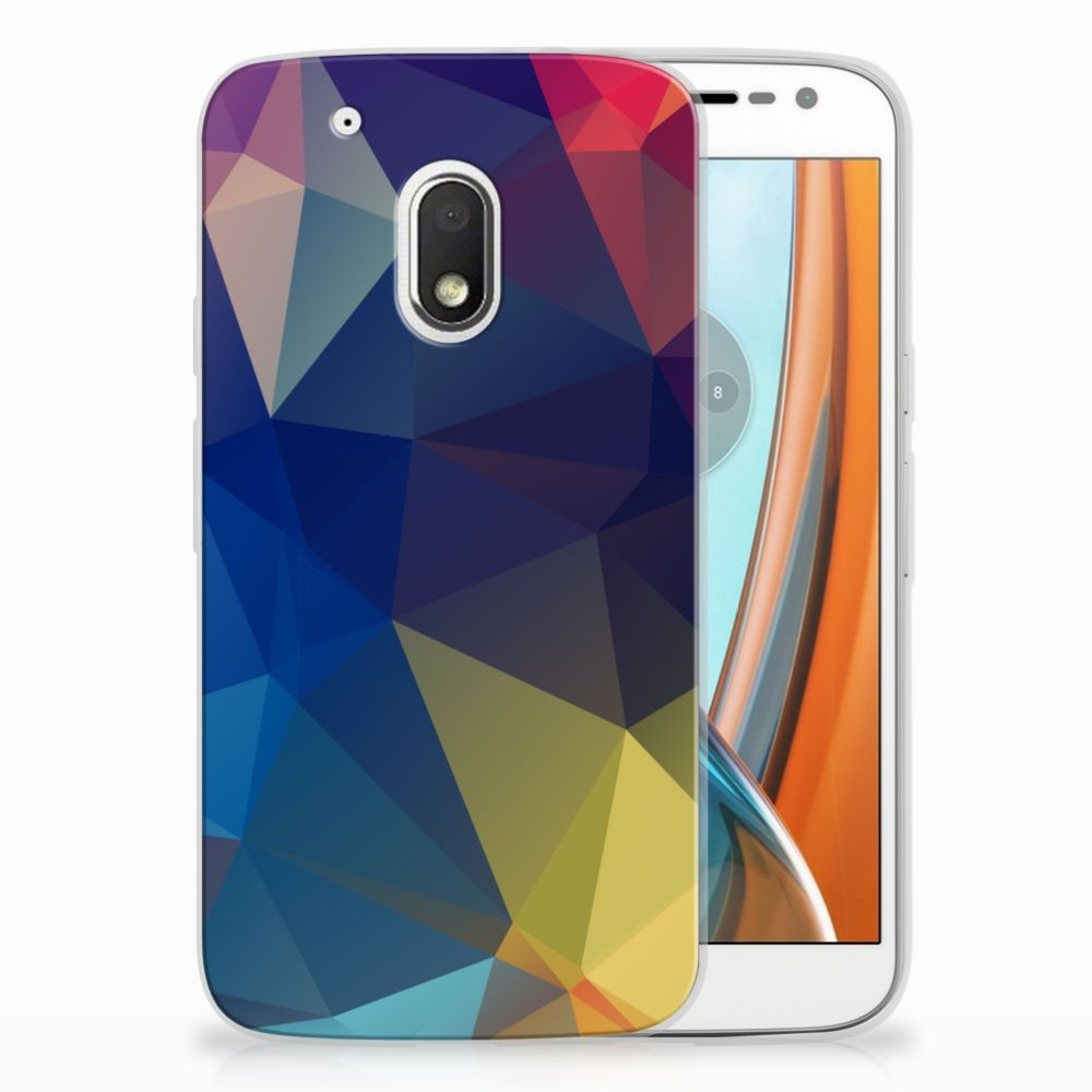 Motorola Moto G4 Play Uniek TPU Hoesje Polygon Dark