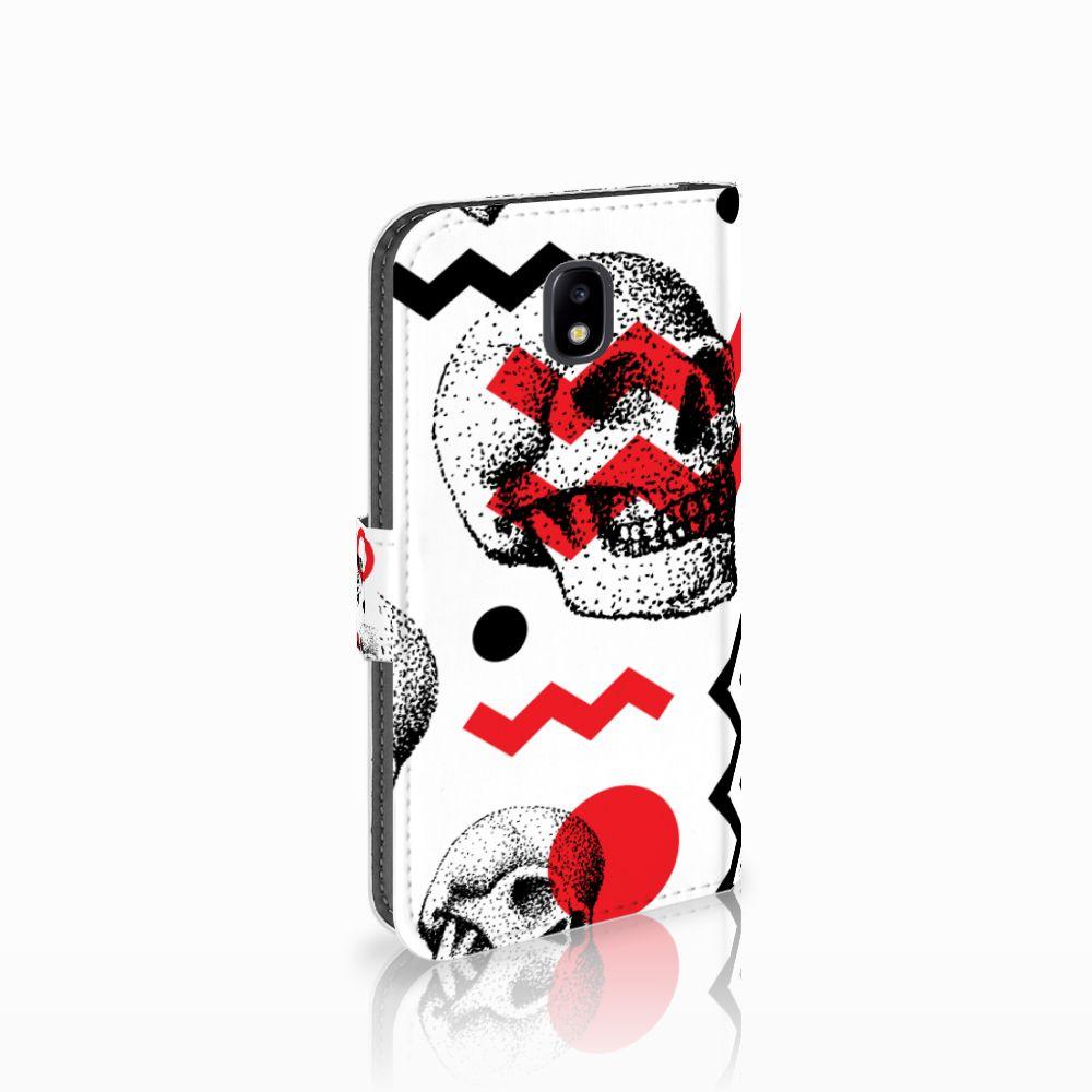 Samsung Galaxy J5 2017 Boekhoesje Design Skull Red