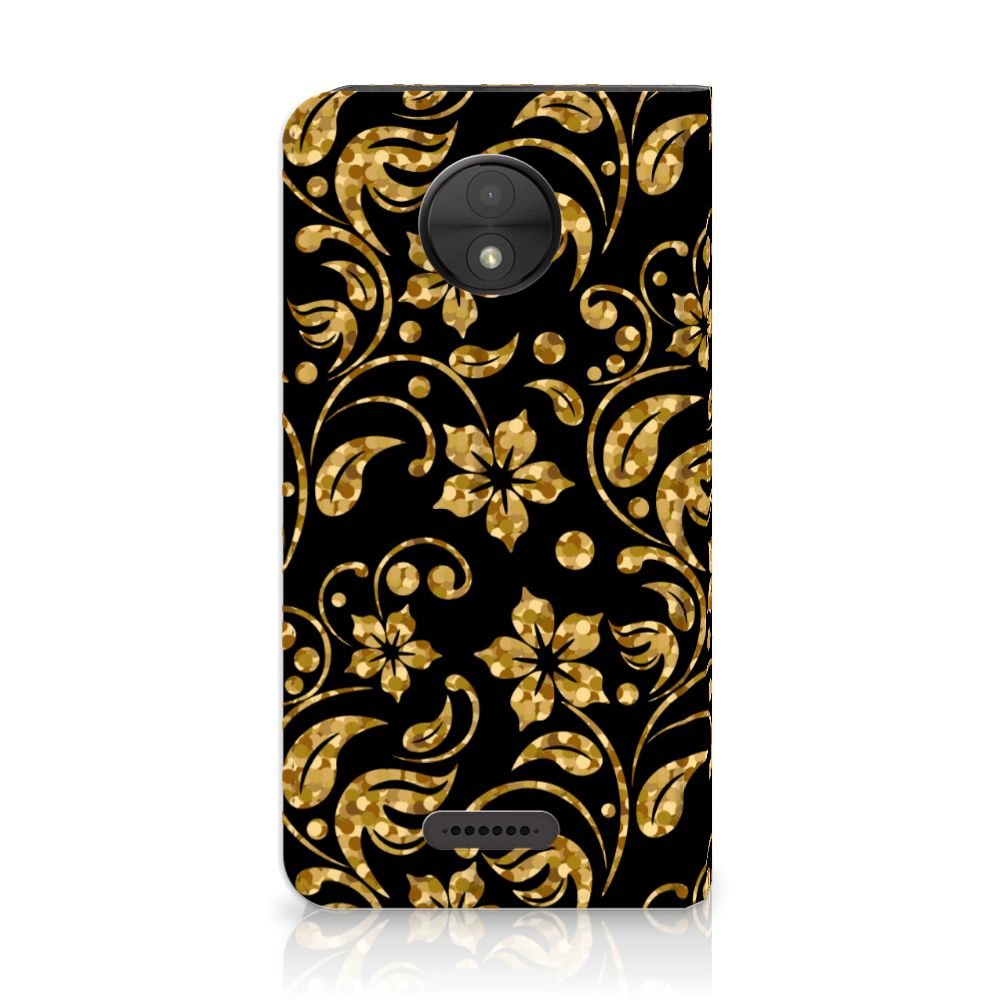 Motorola Moto C Standcase Hoesje Design Gouden Bloemen