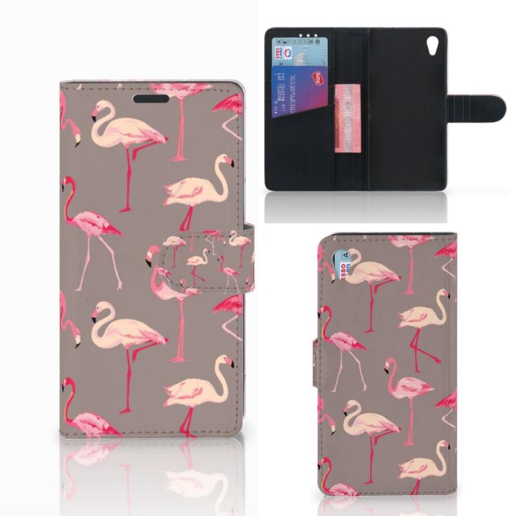 Sony Xperia Z3 Telefoonhoesje met Pasjes Flamingo