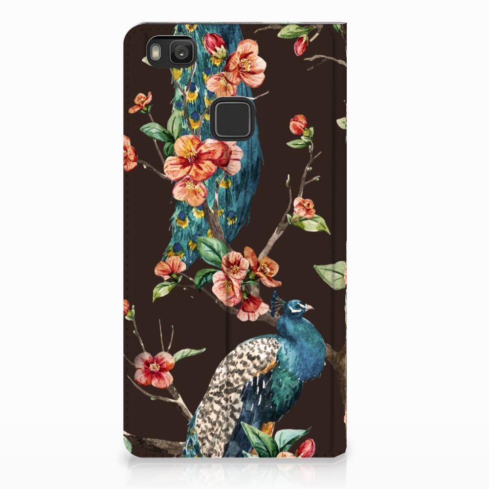Huawei P9 Lite Standcase Hoesje Design Pauw met Bloemen