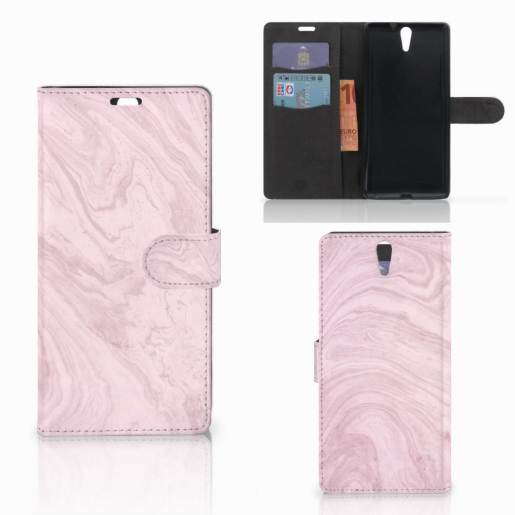 Sony Xperia C5 Ultra Bookcase Marble Pink