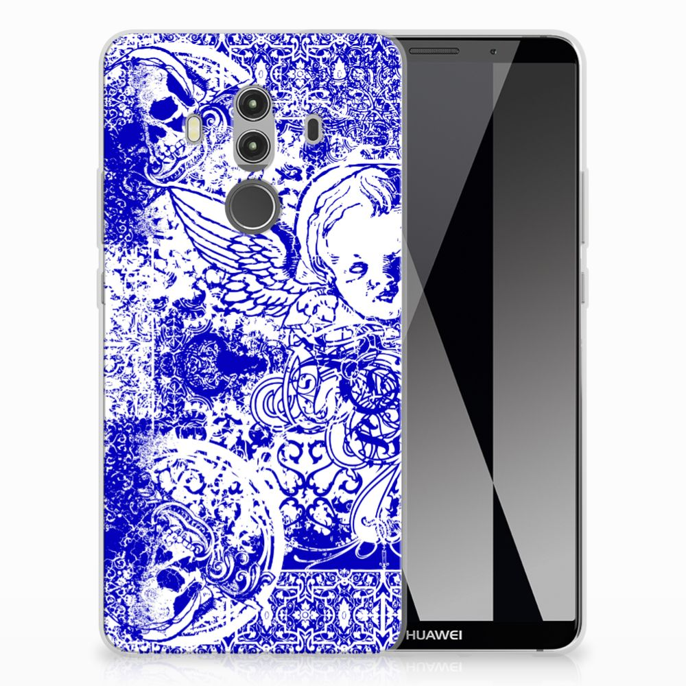Silicone Back Case Huawei Mate 10 Pro Angel Skull Blauw