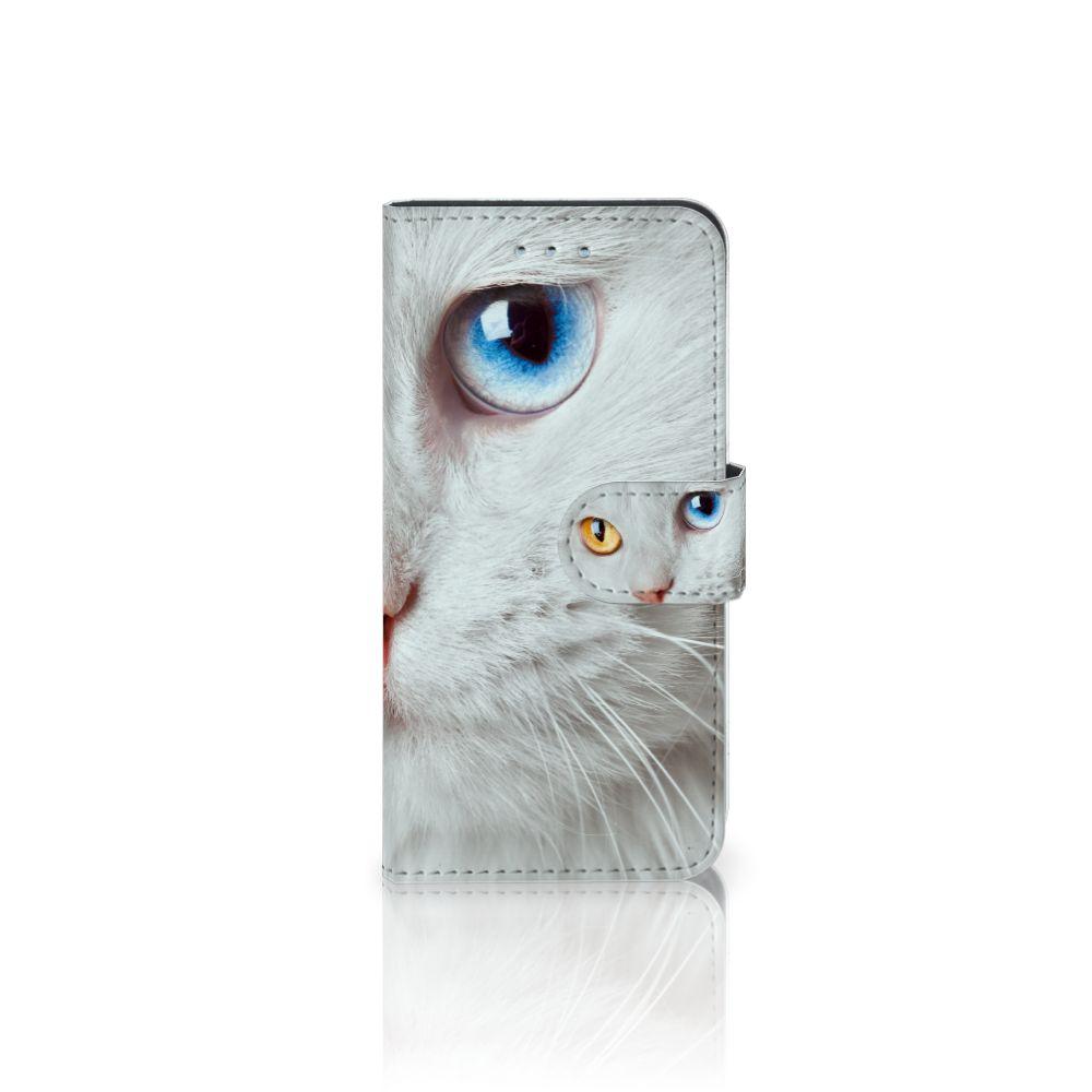 Samsung Galaxy S6   S6 Duos Uniek Boekhoesje Witte Kat
