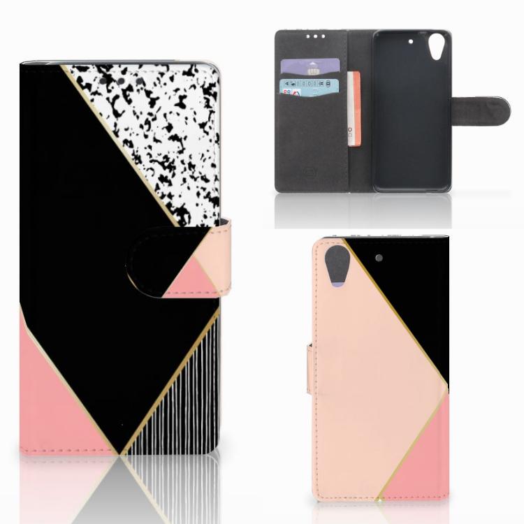 HTC Desire 626 | Desire 626s Bookcase Zwart Roze Vormen