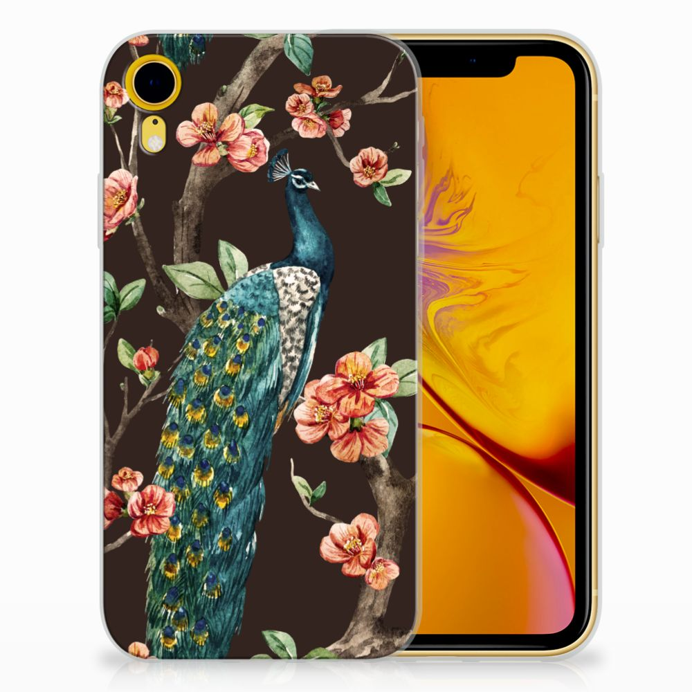 Apple iPhone Xr TPU Hoesje Design Pauw met Bloemen