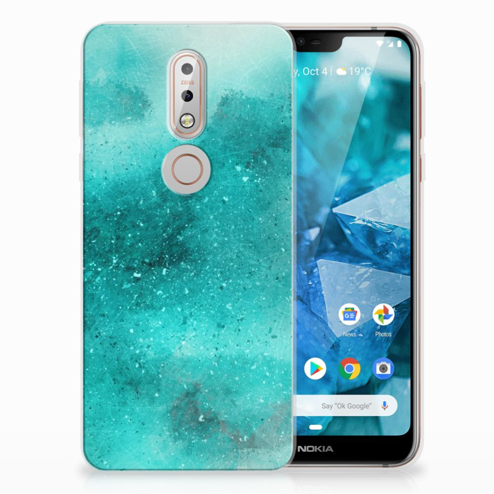 Nokia 7.1 Uniek TPU Hoesje Painting Blue
