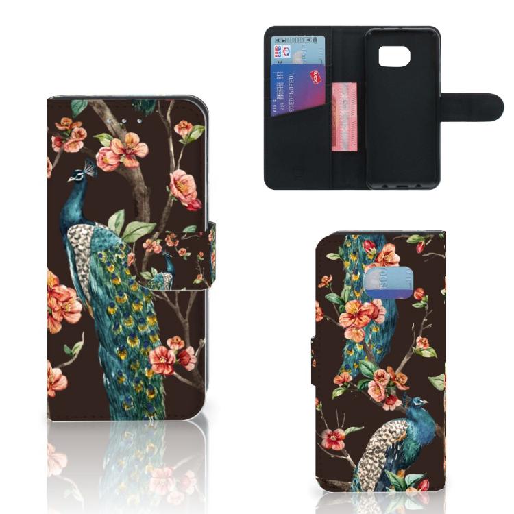 Samsung Galaxy S6 Edge Telefoonhoesje met Pasjes Pauw met Bloemen
