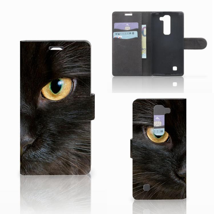 LG Magna | G4C Telefoonhoesje met Pasjes Zwarte Kat
