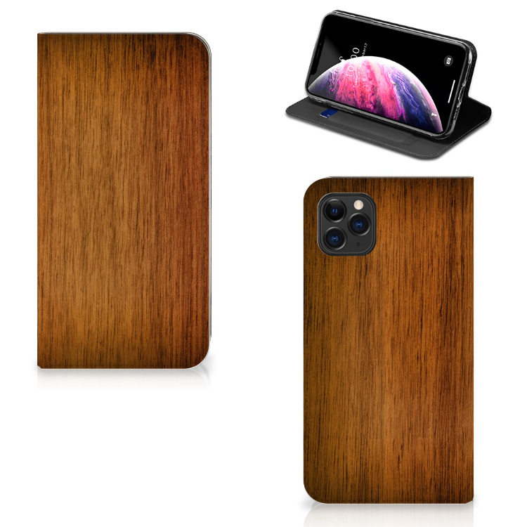 Apple iPhone 11 Pro Max Book Wallet Case Donker Hout