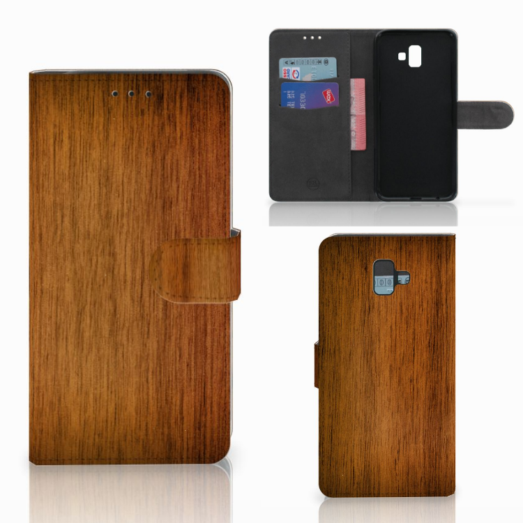 Samsung Galaxy J6 Plus (2018) Book Style Case Donker Hout