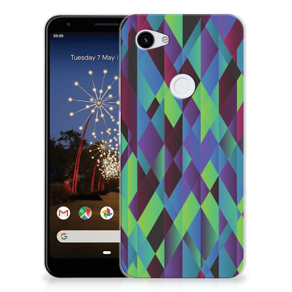 Google Pixel 3A XL TPU Hoesje Abstract Green Blue