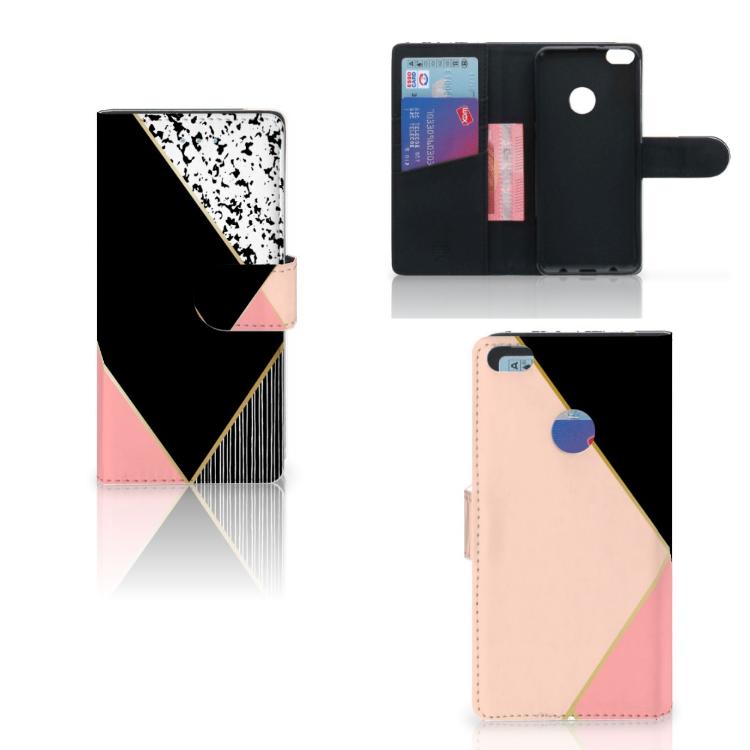 Huawei P8 Lite 2017 Bookcase Zwart Roze Vormen