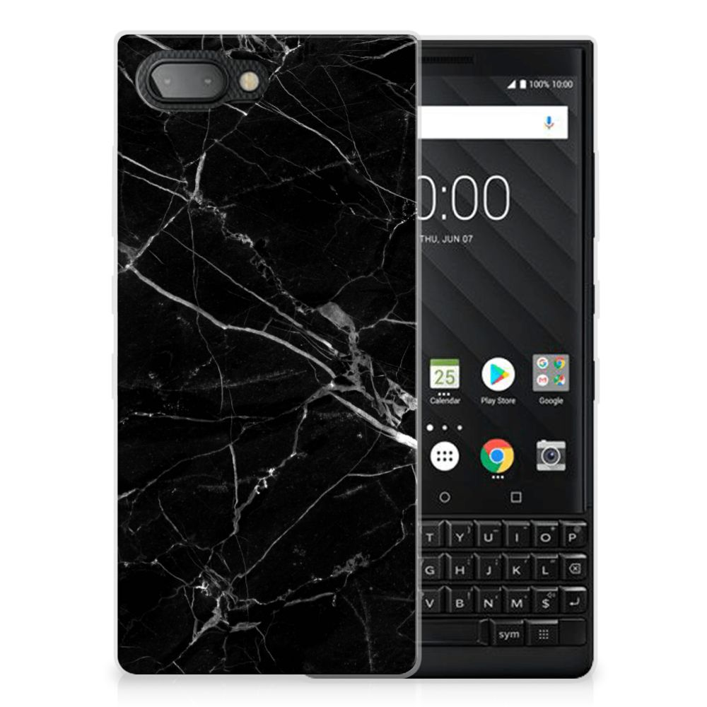 BlackBerry Key2 TPU Siliconen Hoesje Marmer Zwart - Origineel Cadeau Vader