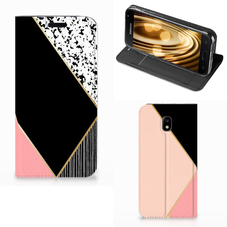 Samsung Galaxy J3 2017 Stand Case Zwart Roze Vormen