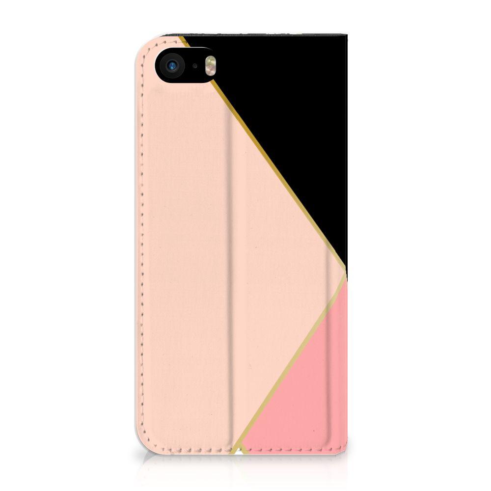 iPhone SE 5S 5 Uniek Standcase Hoesje Black Pink Shapes