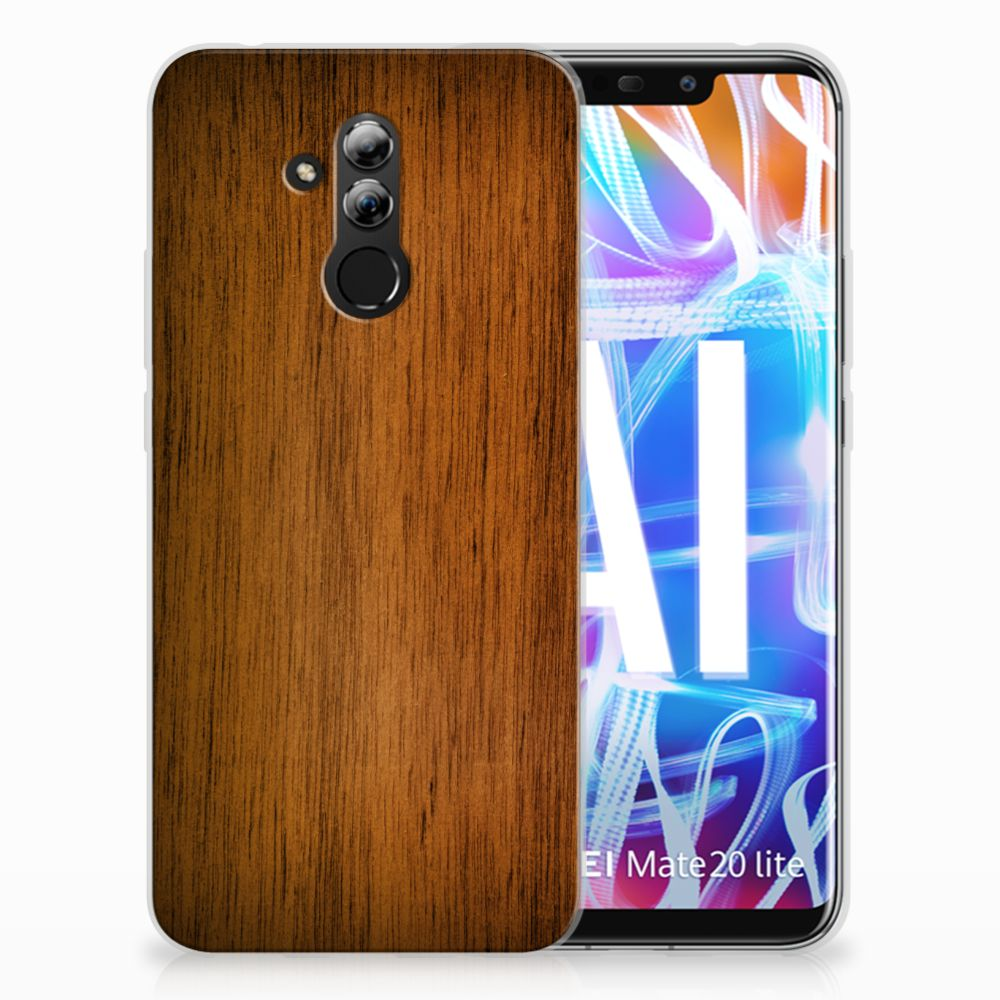 Huawei Mate 20 Lite Uniek TPU Hoesje Donker Hout