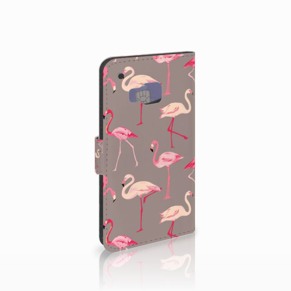 HTC One M9 Telefoonhoesje met Pasjes Flamingo