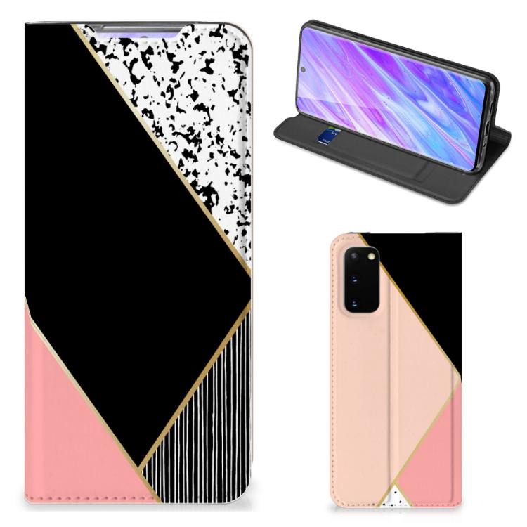Samsung Galaxy S20 Stand Case Zwart Roze Vormen