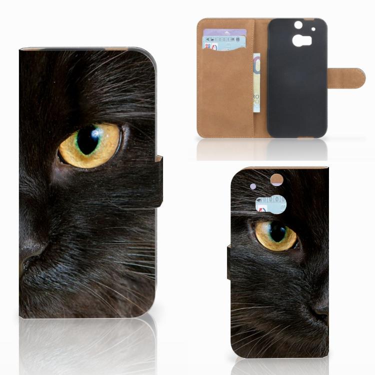 HTC One M8 Telefoonhoesje met Pasjes Zwarte Kat