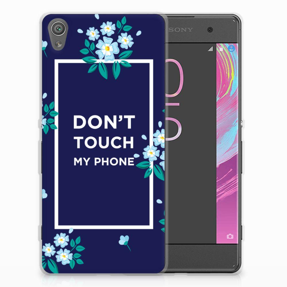 Sony Xperia XA   XA Dual Silicone-hoesje Flowers Blue DTMP