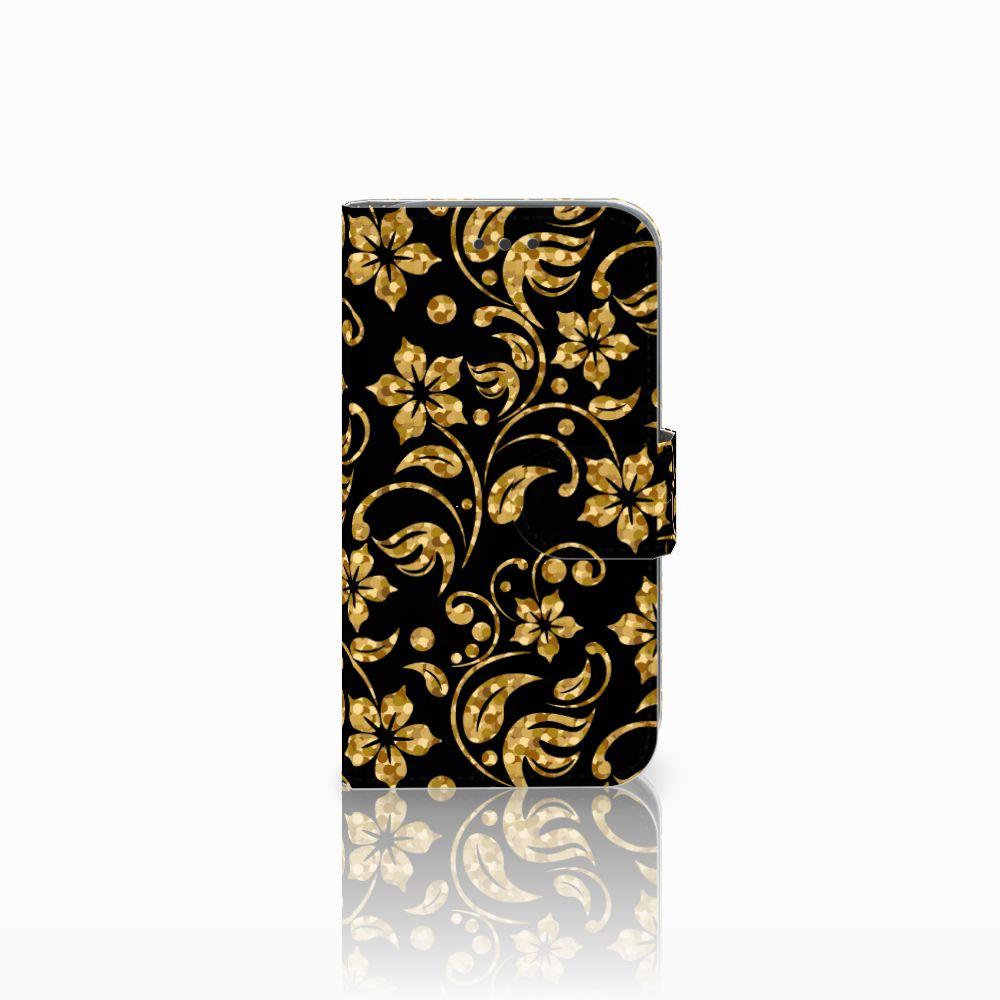 Samsung Galaxy Core Prime Boekhoesje Design Gouden Bloemen