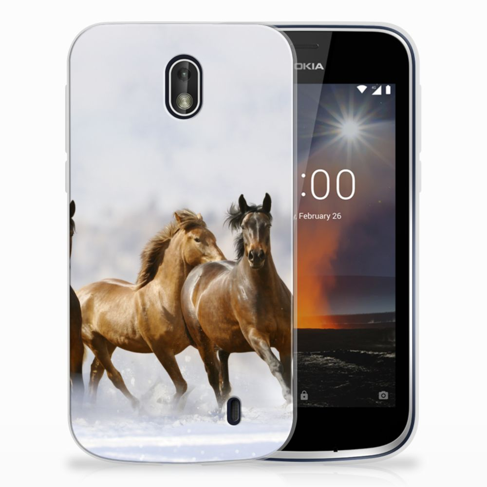 Nokia 1 Uniek TPU Hoesje Paarden