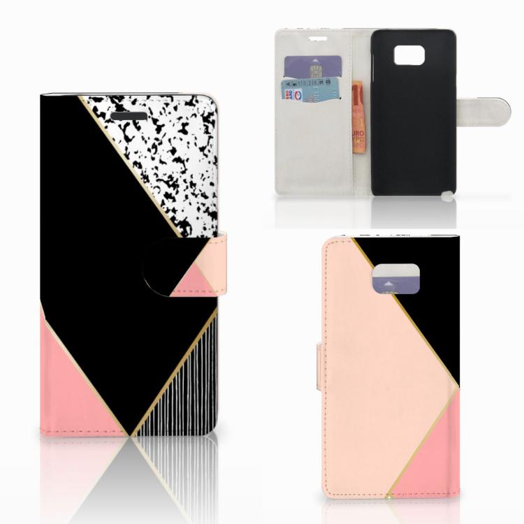 Samsung Galaxy Note 5 Bookcase Zwart Roze Vormen