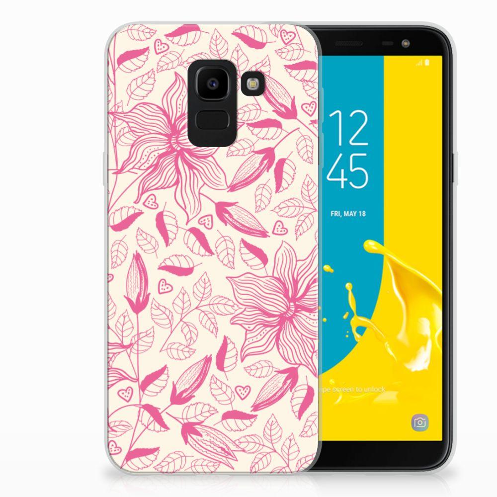 Samsung Galaxy J6 2018 Uniek TPU Hoesje Pink Flowers