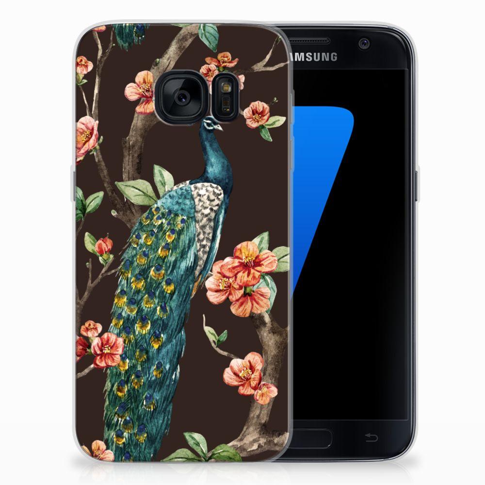 Samsung Galaxy S7 TPU Hoesje Pauw met Bloemen