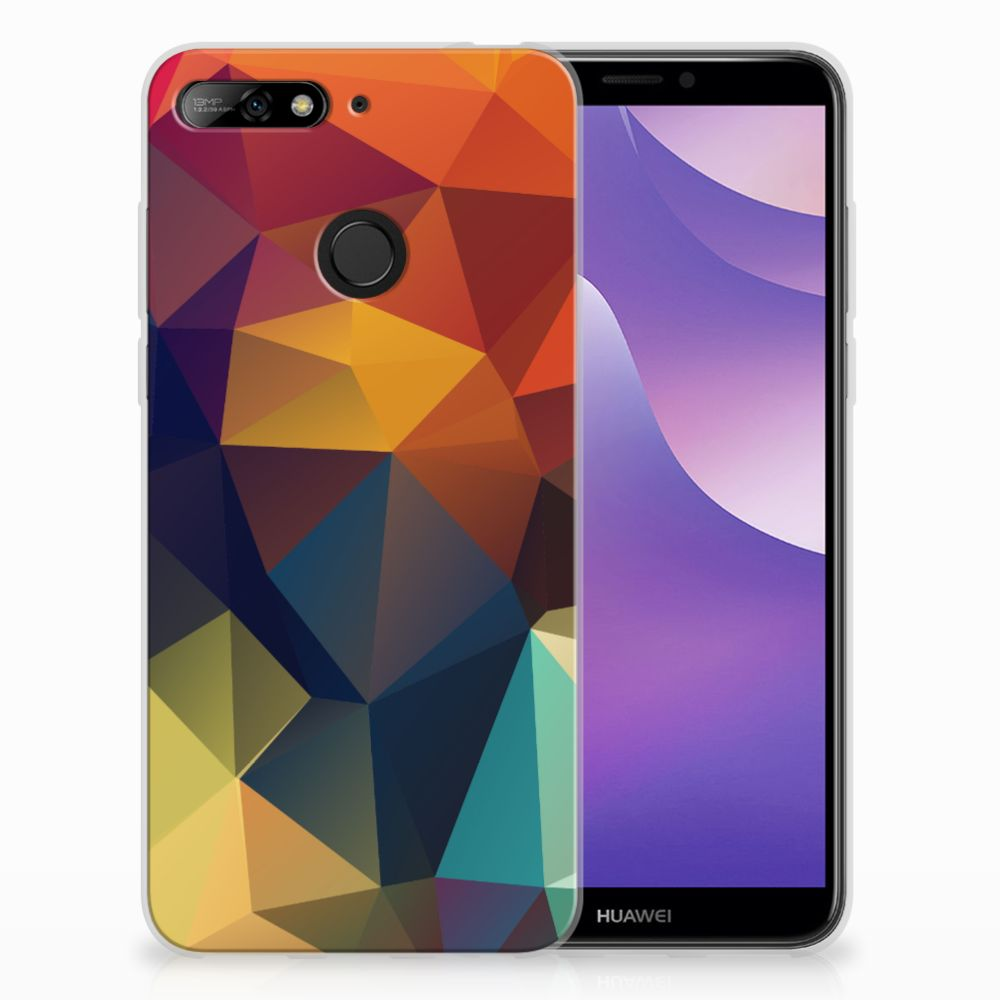 Huawei Y6 (2018) TPU Hoesje Design Polygon Color